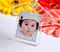 10pcs Blank Acrylic photo studio promotion gift key ring,plastic photo frame keychain,fashion keychian/keyring