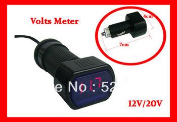 2 pcs/ set 12V /24V RED DIGITAL LED CAR AUTO VOLTMETER VOLTAGE GAUGE Volt Meter Battery Freee Shpping , Brand New