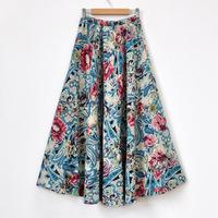 Linen skirt spring half-length full dress summer bohemia skirt bust skirt - expansion skirt blue