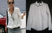 NEW Womens Long Sleeve White Pullover Cotton Blouse