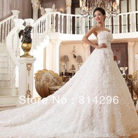 Free     shipping     The new 2013 luxury trailing han edition lace wedding dress trailing