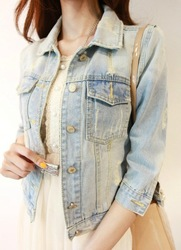 Spring and autumn brief vintage nostalgic denim short jacket girls jeans(China (Mainland))
