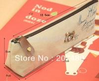 vintage canvas Pencil pen Case Pocket organizer storage Makeup cosmetic stationery bag with zipper wholesale