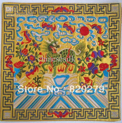 Personalized Wedding Placemats Square Chinese Satin Embroidered Kirin Patterns 5pcs/pack mix Free(China (Mainland))