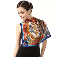 wholesale 2013 new arrival fashion genuine brand scarf 100% silk Printing scarf for woman 55*55cm free shipping