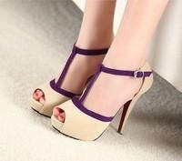 Sweet sexy open toe high-heeled shoes belt platform sandals female