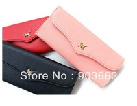 HOT PU Leather Rivet Lady Clutch Purse Wallet evening wrist Bag Free shipping