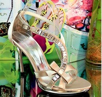 New arrival rhinestone 2013 bow sandals sexy high-heeled  fashion women's shoes A0231