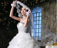 v1 Free shipping Wedding Bridal veils Dress lace Wedding Accessories longer than 150cm 2014