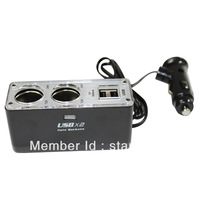 AC DC Adapter/Switching power adapter/Cigarette Lighter ,Two sockets with 2USB port 12V Car Charger,USB DC 5V 500mA,DC 12V/24V