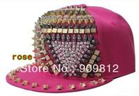 Free Shipping  2013 Korean punk Style, Triangle Kito rivets flat brimmed hat, Hip-hop baseball cap, Snapback hats 20pcs/lot