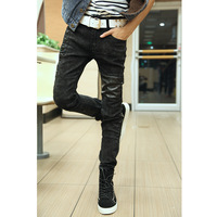 free shipping 2013 men's clothing street trend of the male slim skinny jeans trousers male