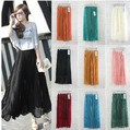 2013 spring and summer women's  bohemia pleated chiffon full  stretch skirt  casual skirt 8colors free shipping  3222