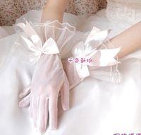 g10  Free shipping Wedding Bridal gloves  Dress Wedding Accessories finger wrist bow bridal gloves 2014