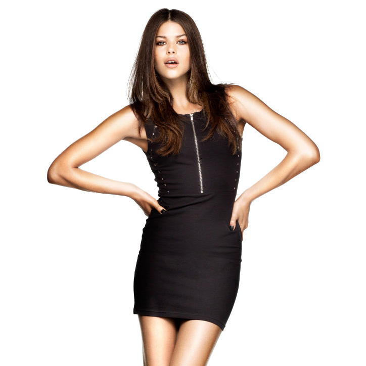 sexy Rivet decoration slim sleeveless elastic short design one-piece dress zipper for women 2013(China (Mainland))