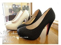 Free shipping Paillette blingbling invisible high-heeled platform shoes wedding shoes single shoes