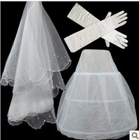 set2  Free shipping Wedding Bridal gloves 100cm veils petticoat Wedding  Dress Accessories three-set 2014