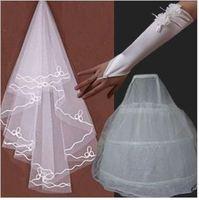 set3  Free shipping Wedding Bridal gloves 100cm veils petticoat Wedding  Dress Accessories three-set 2014