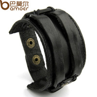 2014 New Arrival Leather Cuff Double Wide Bracelet and Rope Bangles Black for Women Men Fashion Man Braclets Jewelry PI0296