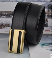 Free Drop Shipping/100% men genuine real leather belt waist leisure belt double hot black Belt Golden S Buckle vogue belts