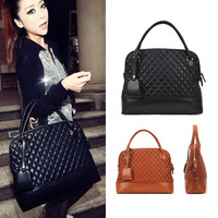 Korean Style Black/Brown Lattice Faux Leather Package Handbag Tote Bag Hot Sale