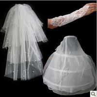 set5  Free shipping Wedding Bridal gloves layer veils petticoat Wedding  Dress Accessories three-set 2014