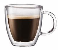 Free shipping Wholesale Bodum Bistro Style Double Wall glass coffee beer mug 400ml,Glass Cup Mug With Handle stein mug