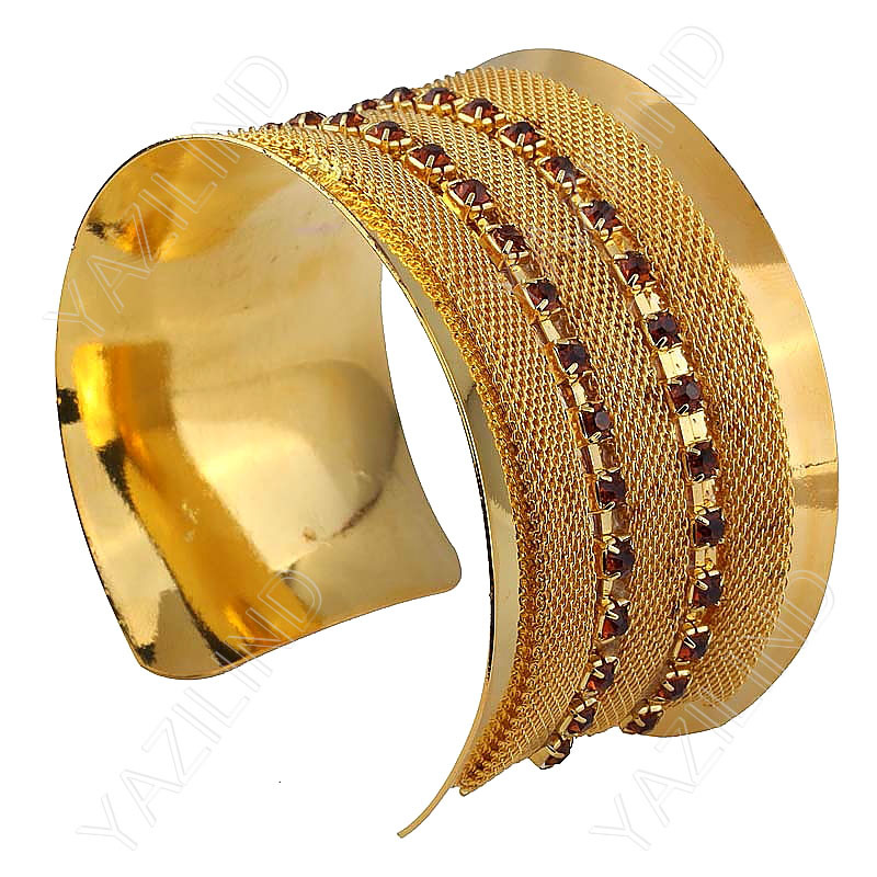 Ladies!Free shipping! Low price 2013 Women's famous Gold Plated Stone Polishing Inside Bangle Good feeling Just Click Here!(China (Mainland))