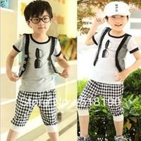 Free shipping- children's clothing 2013 Explosion Boy False Waistcoat T-Shirt+Plaid Pants Shorts Boy summer 2pcs suit