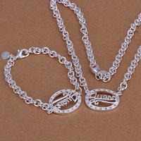 Hot selling , free shipping 925 silver jewelry set, fashion jewelry set Egg-Shaped Two-Piece Jewelry Set S090
