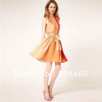 2012 fashion vintage high waist lacing colorant match contrast color halter-neck style chiffon one-piece dress