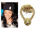 Free Shipping Celebrity Style Gold/Silver Statement Lion Head Chain Link Necklace Rihanna Leona Lewis And Nicki Minaj