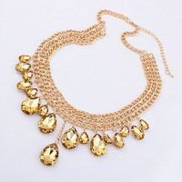 Min $20 (can mix) Free Shipping!! fashion metal mix match women's drop glass yellow necklace