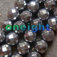 Free Shipping AAA 8mm Faceted Grey Silver Hematite Cut Round Loose Beads For Jewelry Making 102pcs/lot 1string=51pcs wholesale