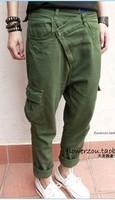 Pants fashion oblique zipper olive all-match pants casual pants