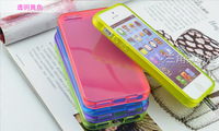 Free shipping 9pcs good quality nice feeling soft shock proof 9 colors simple smooth case for Iphone 5