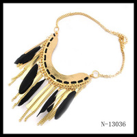 Min.order is $10 (mix order) free shipping Feather tassels metal short necklace