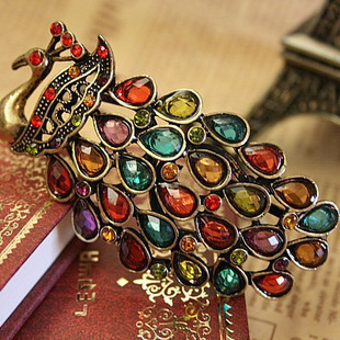 High quality vintage peacock colorful diamond bracelet bohemia wind pulling(China (Mainland))