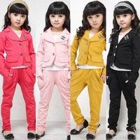 2013 New Girls chic suit + pants - Kids GIRLs sweat suit jogging sets Children's suits Lowest price110---140