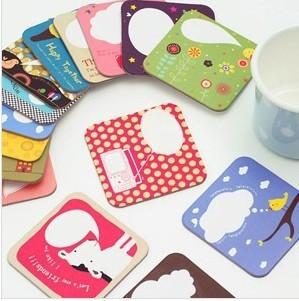 Free shipping Cute cartoon cup mat,Card Tablemat .15pcs/lot bs153