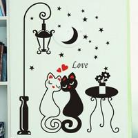 Retail street lamp cat lovers PVC wall stickers (KA-16)