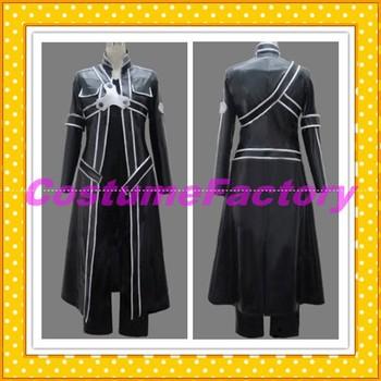 Free Shipping Custom Made Sword Art Online Cosplay Kirito PU Cloak,0.6kg/pc
