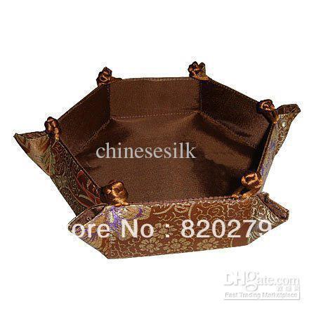 Brown Storage Baskets Silk Fabric Folding Hexagon Flower Pattern 3pcs/pack Free(China (Mainland))