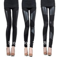 Fashion Sexy Lady Stitching Stretchy Faux Leather Back Tight Leggings Pant multi designs