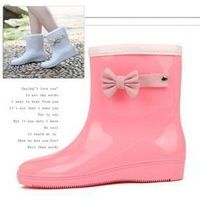 2012 autumn and winter bow boots rainboots slip-resistant water shoes female boots hot-selling