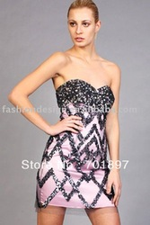 SH283 New styles satin sewing with sequins and crystals cocktail dress(China (Mainland))