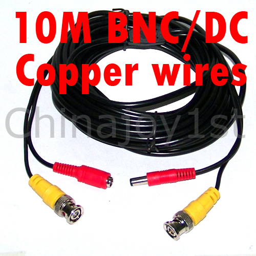 10 m 32FT BNC / DC Cable For CCTV Camera DVR Video Power Security Surveillance(China (Mainland))