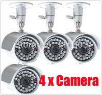 4* 30LED Day Night IR Waterproof Wired CCTV AUDIO Security Camera /4pcs camera