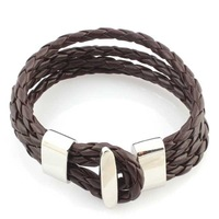 leather wrap bracelet  for men and women stainless steel buckle leather jewelry  BL-001