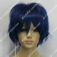 Rainbow cos wig blue black wig stubbiness